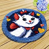 DIY Latch Hook Kit Rug Crochet Yarn Kits Needlework Embroidery Carpet Set (Cat,21x21' (52X52cm)