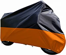 Tokept Black and Orange Waterproof Sun Motorcycle cover (XXXL).116