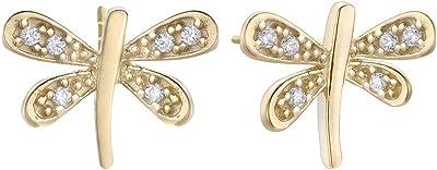Orecchini Duran Exquse della collezione Pretty Jewels in argento 925 placcato oro giallo a forma di libellula e zirconi
