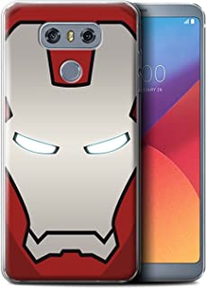 eSwish Carcasa/Funda TPU/Gel para el LG G6/H870/LS993/VS998 / Serie: Casco de Superhéroe - Robot Rojo/Plata