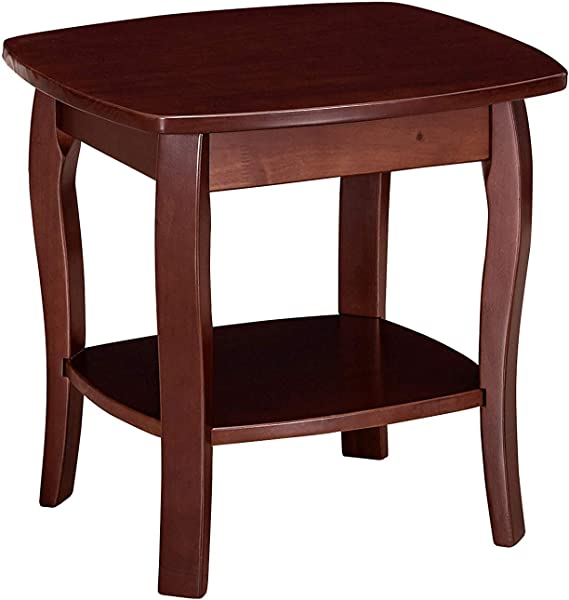 MUSEHOMEINC Wood Traditional Style End Table With 1 Storage Shelf Curved Wood Leg Side Table For Small Spaces For Living Room Entryway Dark Espresso Finish