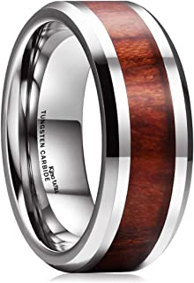Nature Koa Wood Inlay Tungsten Carbide Wedding Ring 8mm Rose Gold/Blue/Black/Silver High Polished Comfort Fit
