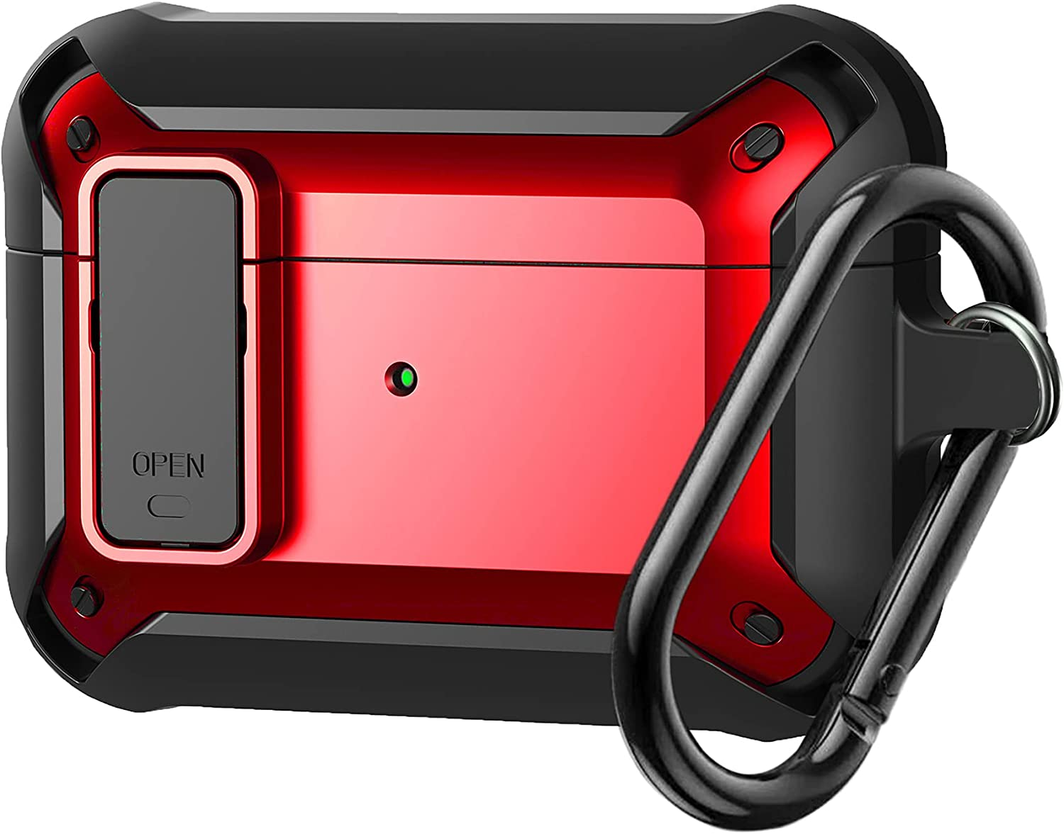 Airpods Pro Case Cover, Olytop [Secure Lock] Armor Full-Body Rugged Air Pods Pro Case Protective Cover Skin Shockproof Men Women with Keychain for Apple Airpods Pro Charging Case - Red