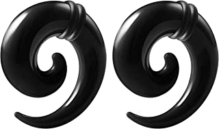 BIG GAUGES Pair of Black Acrylic Solid Spiral Coil Taper O-Rings Piercing Jewelry Ear Plug Stretching Expander Earring
