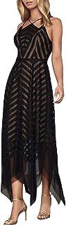 BCBG Max Azria Womens Metallic Tulle Evening Dress