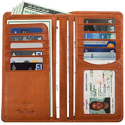 Mens Long Bifold Checkbook Cover Wallet Multi Card Pocket Holder Italian Leather