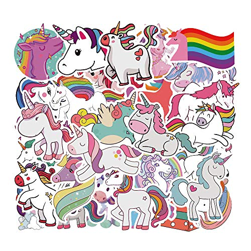 Adesivi Bambini 50pcs, Unicorno Adesivo Vsco Stickers Vinyl Kawaii Decals per Bambini Adolescenti Laptop, Auto, Moto, Biciclette, Skateboard, Valigia, Notebook, Chitarra (Unicorno)
