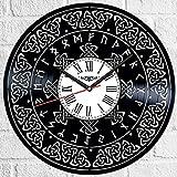 Reloj de pared con símbolo celta de vinilo, estilo retro, silencioso, decoración para el hogar, accesorios especiales para el hogar, regalo de personalidad creativa