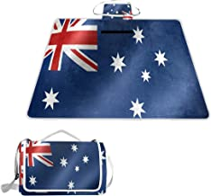OuLian Australia Flag Picnic Blanket Mat, Waterproof Foldable Play Mats for Kids, Babies, Families - Protective Beach Blankets for Park, Camping, Yard, Lawn, Sand