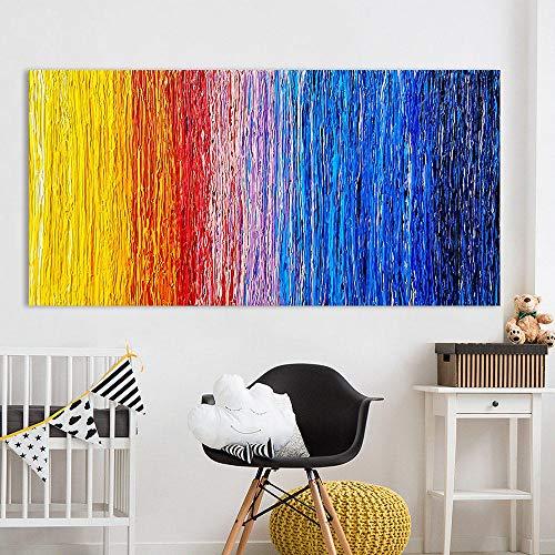 wekeke Cuadros de Lienzo patrón Abstracto Colorido Lienzo Pintura Arte Cuadros de Pared para Sala de Estar decoración del hogar impreso-60X120Cm sin Marco