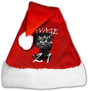 21 Savage 666 Head Christmas Santa Hat,Christmas Hat For Adults Decoration Velvet Plush Super Soft Thickeningmniunision M