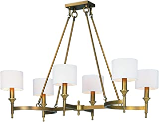 Six Light Natural Aged Brass Up Chandelier
