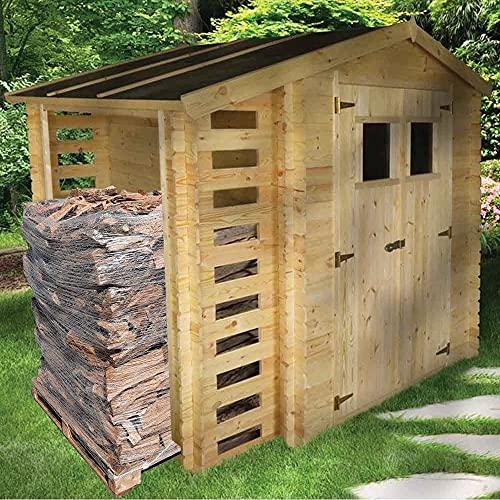 Casetta con legnaia in legno di pino grezzo 2x2 mt + 6,5 quintali di Legna da ardere di ulivo su bancale