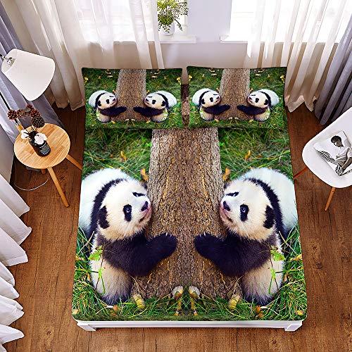 Ouduo 3D Panda Stampa Set di Lenzuola e Federe, Microfibra Lenzuolo sotto con Angoli profondità 30cm ed Elastic con 2 Federe per Letto Singolo Matrimoniale King Size (Panda 7,150x200x30cm)