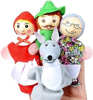لعبة قصة الدمى ذات الأصابع من ليتل ريد رايدنج هوود، دمية مسرح القصص للأطفال الصغار (قلنسوة ركوب الخيل الحمراء الصغيرة)