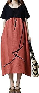 EASONDDD レディース ワンピース ゆったり 体型カバー 森ガール スプライス 綿麻 ワンピース ロングスカート エレガント ポケット付き 半袖シャツ ドレス マキシ ワンピース 大きいサイズ Aライン 無地