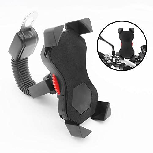 Motorcycle Phone Mount Holder,Universal Motorbike Phone Holder with 360 Rotate for 3.5 to 6.5 inch iPhone Android Smartphones GPS Other Devices,Anti Shake Fall Prevention Motorbike Accessories