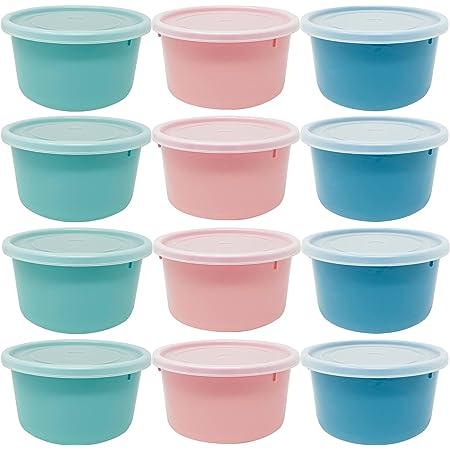 Codil Lot de boîtes en plastique pour aliments, tapis ronds réutilisables sans BPA, couvercle flexible à pression, passe au lave-vaisselle, micro-ondes et congélateur (vert et bleu, 12 x 0,3 L)