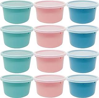 Codil Lot de boîtes en plastique pour aliments, tapis ronds réutilisables sans BPA, couvercle flexible à pression, passe a...