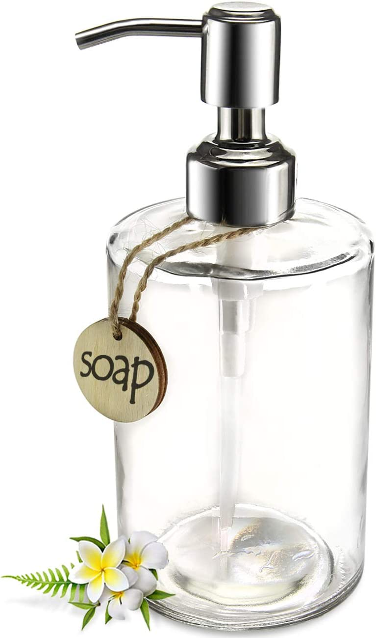 JASAI Low price Cheap 16OZ Cylinder Glass Soap Dispenser with Rust Proof Stainle