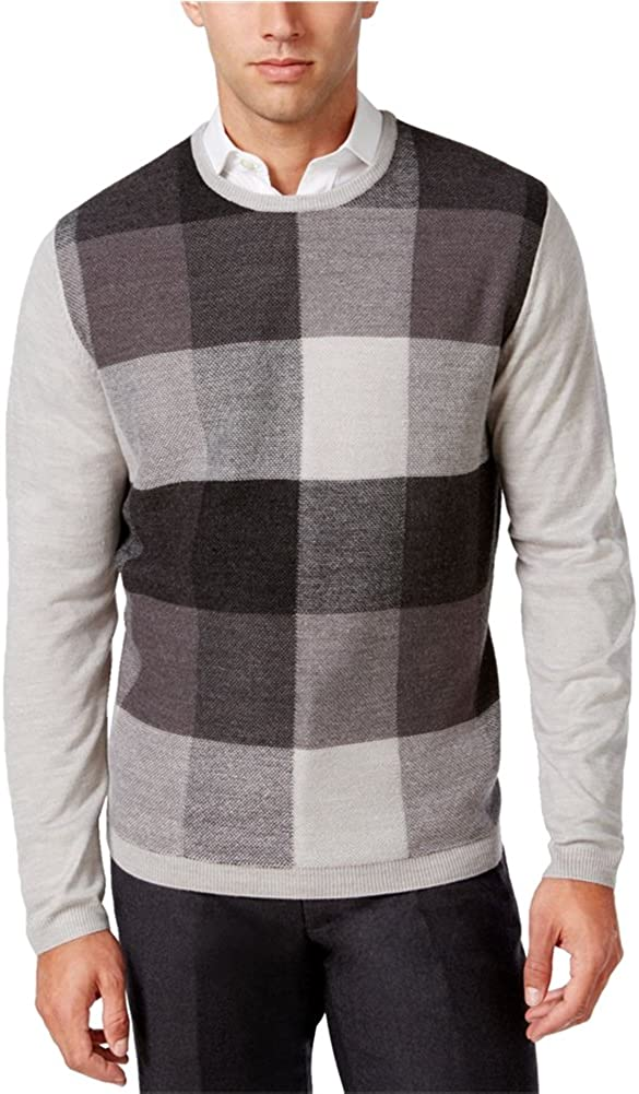 Ryan Seacrest Mens Plaid-Front Pullover Sweater
