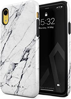 BURGA Phone Case Compatible with iPhone XR Satin White Marble Cute for Girls Heavy Duty Shockproof Dual Layer Hard Shell + Silicone Protective Cover