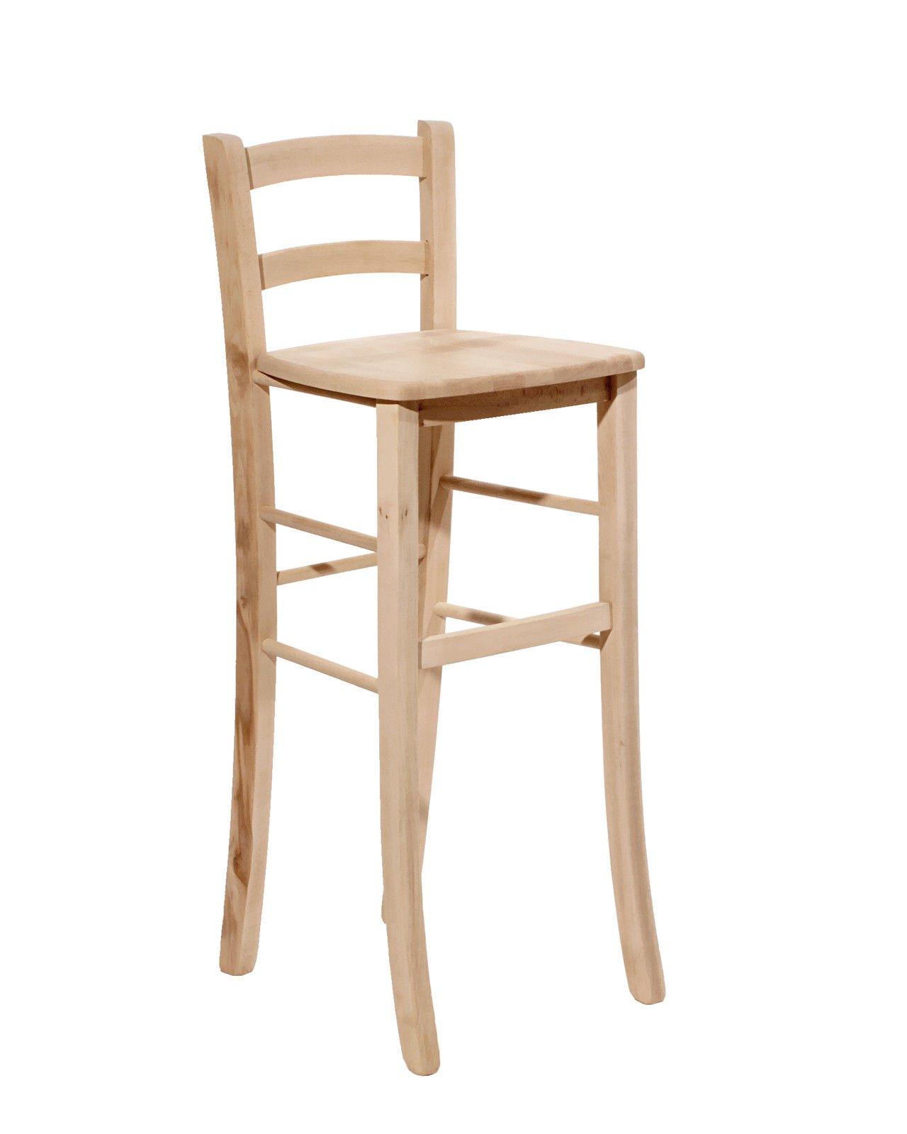 Woodshop Sgabello Sedia in Legno Colore Noce Scuro Altezza 67 cm Seduta Paglia Quadrata