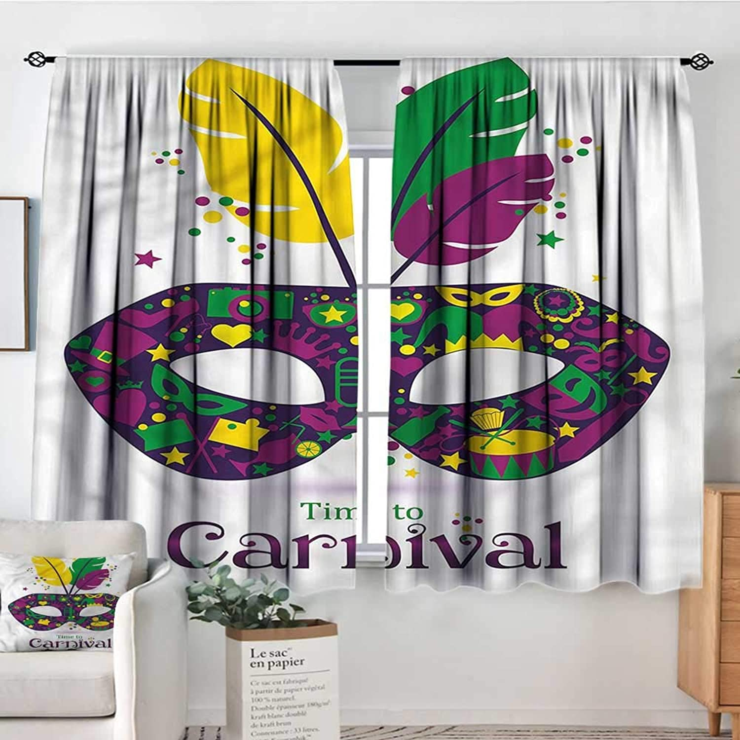 Anzhutwelve Mardi Gras,Bocking Ight Rod Curtains Time to Carnival 42 X63  for Baby Bedroom