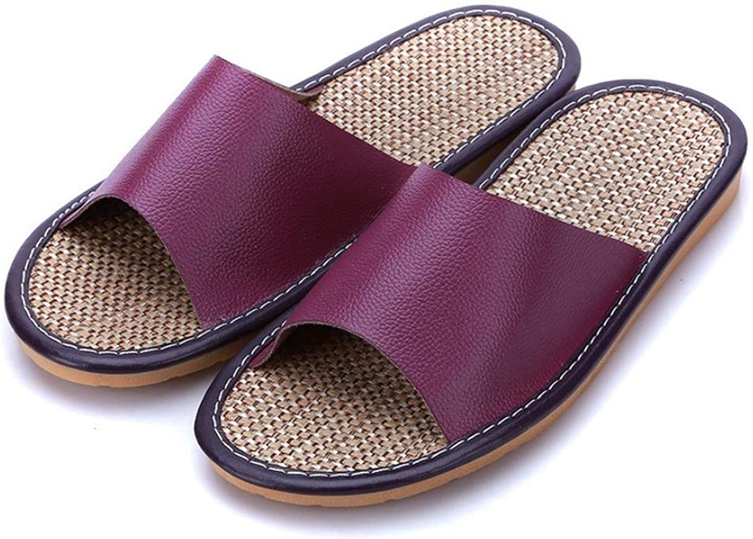 JaHGDU Ladies Home Interior Leather Tendon End of Casual Slippers Small Soild color Personality Fashion for Women Purple