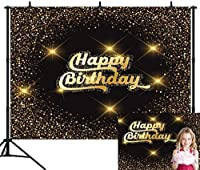 HD 7X5FT金と黒の誕生日パーティーシームレスなビニール写真の背景写真背景スタジオプロップPGT344A
