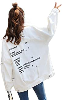 neveraway Women's Long-Sleeve Hole Casual Plus Size Denim Jean Bomber Jacket