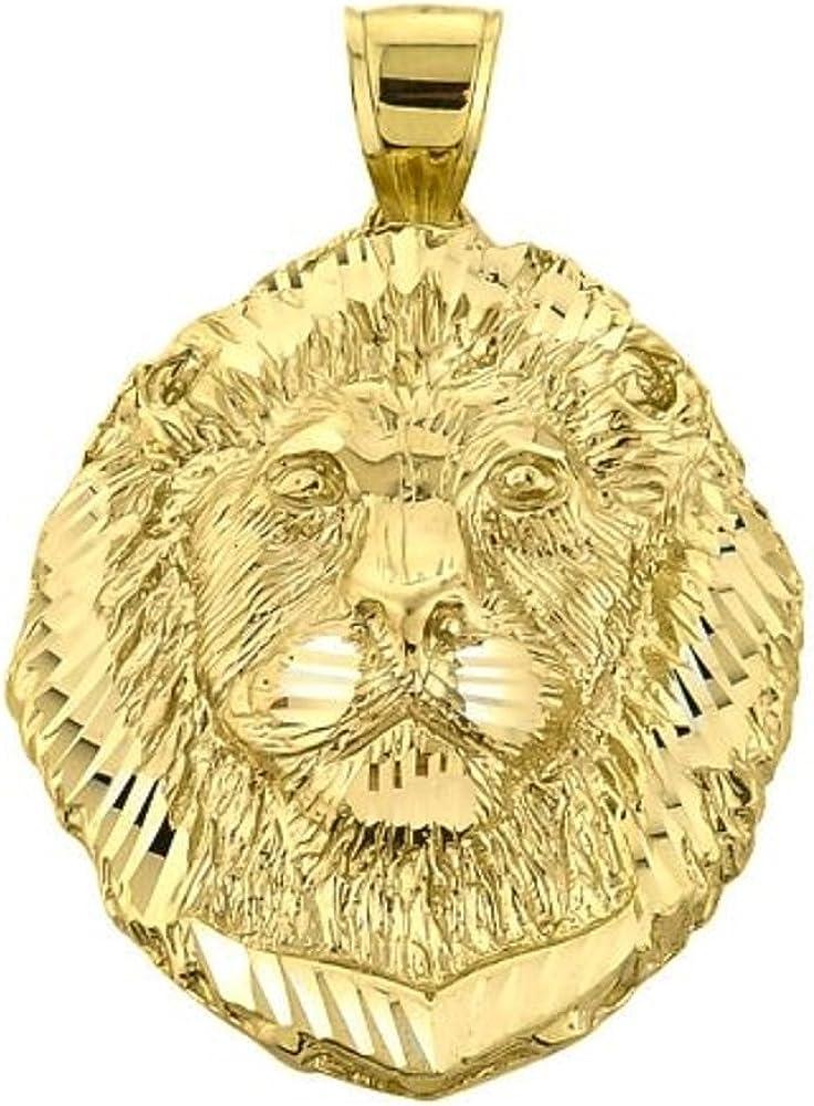 Animal Kingdom Solid 14k Yellow Gold Leo Zodiac Sign Charm King Lion Pendant