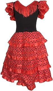La Senorita La Senorita Spanische Flamenco Kleid/Kostüm - für Mädchen/Kinder - Rot/Schwarz Größe 128-134 - Länge 85 cm- 7-8 Jahr, Mehrfarbig
