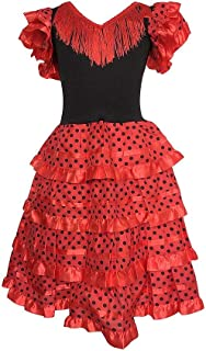 La Senorita Spanische Flamenco Kleid/Kostüm - für Mädchen/Kinder - Rot/Schwarz Größe 164-176 - Länge 110 cm- 12-13 Jahr, Mehrfarbig