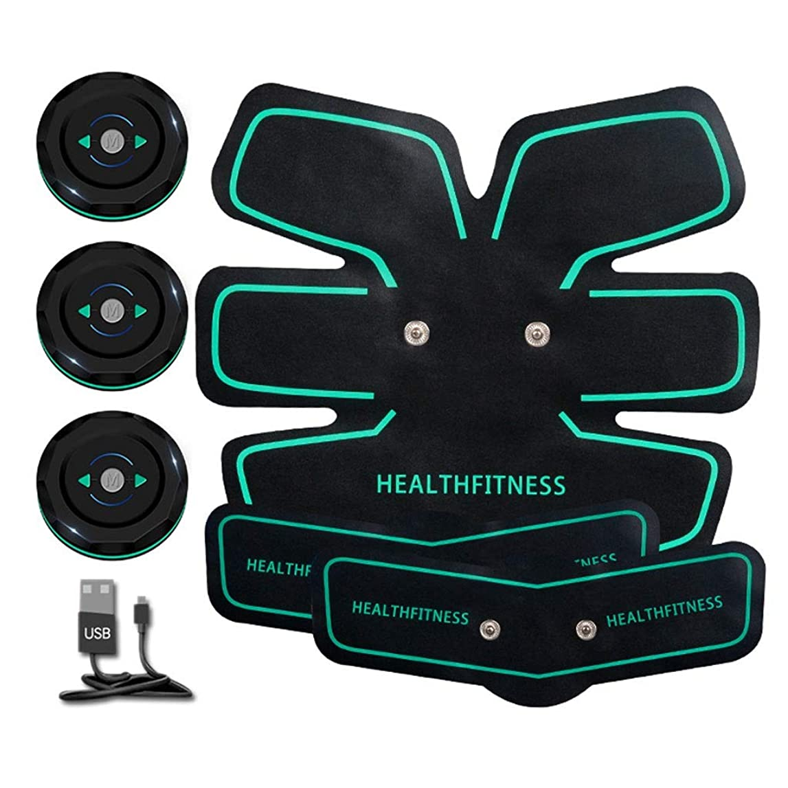 住所詐欺厳しい刺激装置、腹部調子を整えるベルトマッスルトナーポータブルマッスルトレーナー、ボディマッスルフィットネストレーナー6モード9レベル簡単操作用腹部アーム (Color : Green, Size : A+2B)