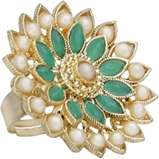 A.R. FASHION Ring For Women Stylish Adjustable 1 Pc - Traditional Ethnic Finger Ring Green
