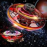 Charnoel Drone Operado de Mano con Luces LED Juguete UFO Pequeño de Interiores y Exteriores Juguetes de Drone Bola Voladora Mini Drone de Manos LED para Niños Mayores de 6 Años (Rojo)