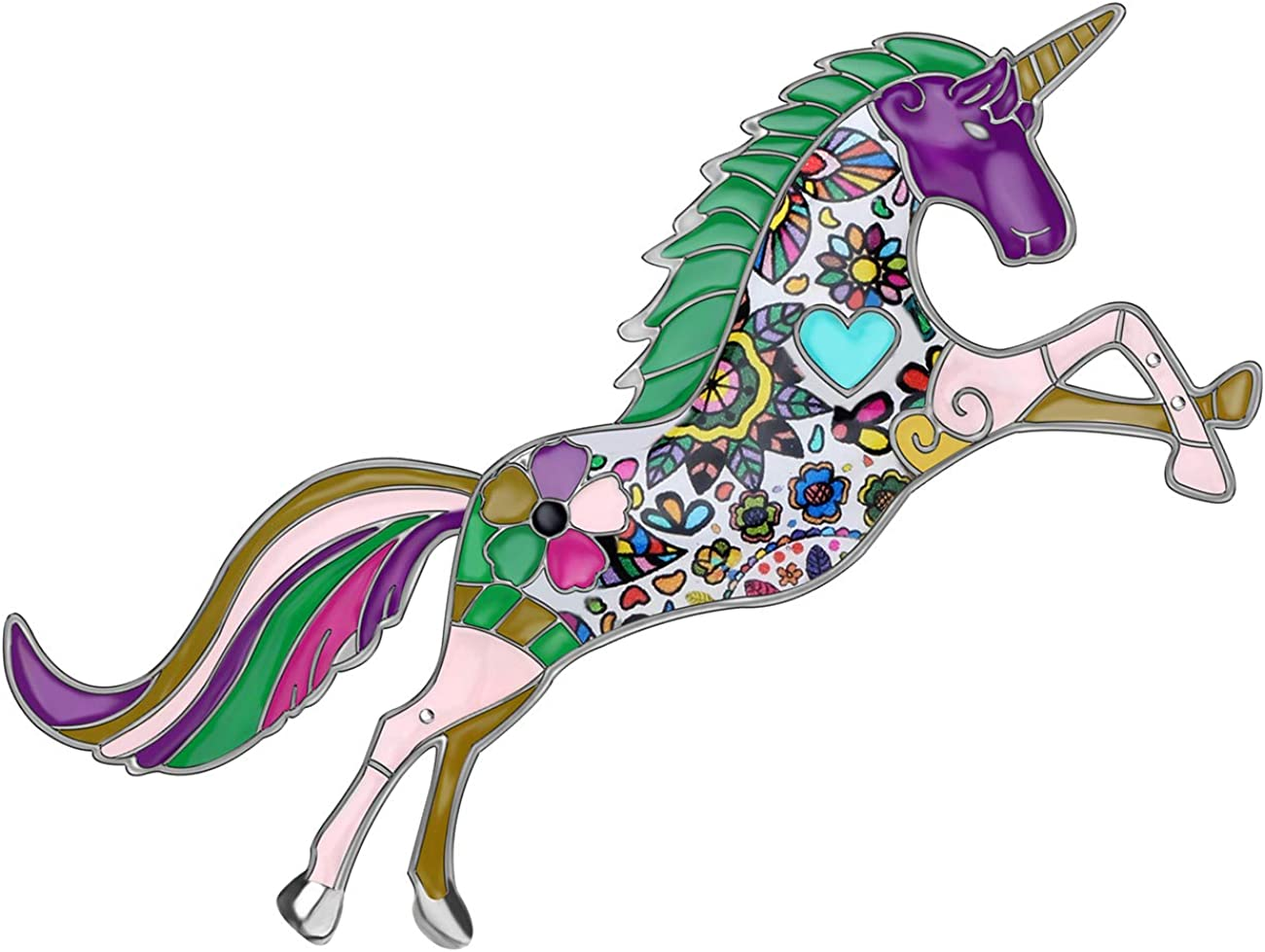 Max 51% OFF WEVENI Enamel Alloy Unicorn Brooch Detroit Mall Dress Pin Horse Jewelry Suit
