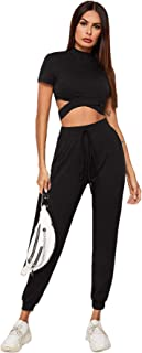 SweatyRocks Women's 2 Piece Outfits Colorblock Short Sleeve Crop Top and Leggings Set Tracksuits