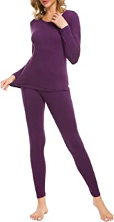 LOMON Thermal Underwear for Women Ultra Soft Smooth Knit Henley Long Johns Set Base Layer Top & Bottom