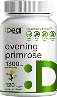 Evening Primrose Oil 1300mg Softgels, Standardized to 10% GLA (Gamma-Linolenic Acid) | Cold Pressed | Non-GMO & No Gluten | Up to 4 Months Supply