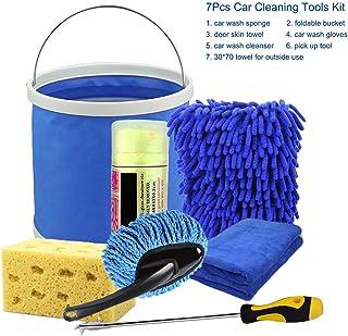 Carrfan 7Pcs Car Cleaning Tools Kit, Car Wash Tools Kit for Detailing Interiors Premium Fiber Cleaning Cloth - Foldable Bu...