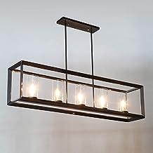 IJzeren kroonluchter met 5 licht glas lampenkap hanglamp en zwart ijzeren plafondlamp voor eetkamer woonkamer slaapkamer