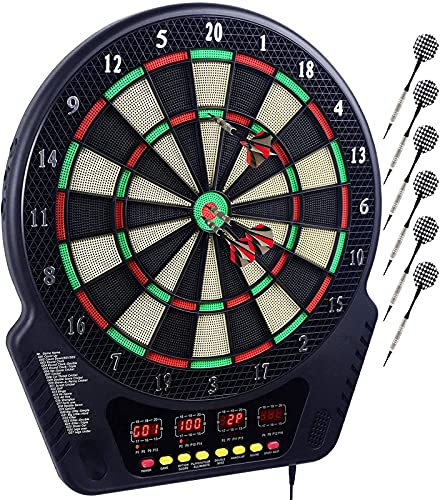 Elektronische Dartscheibe Dardboard mit 4 LCD-Anzeige und Ladeadapter Geeignet, 6 Darts und 24 Pfeilkopf 27 Spiele mit 243 Spieloptionen Profi Elektronik Dartspiel E-Dart Board (Schwarz)