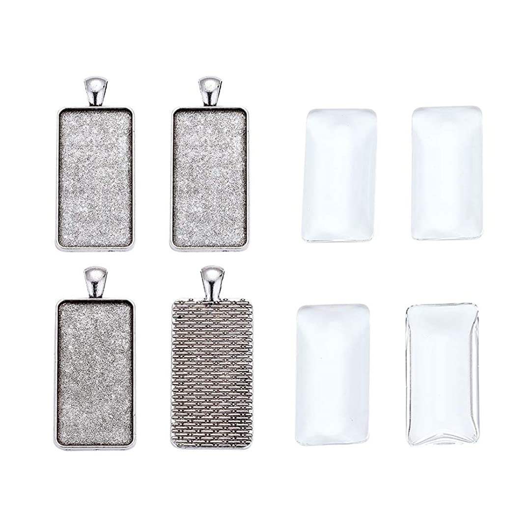 Pandahall 5Sets Antique Silver Cadmium Free & Lead Free Rectangle Pendant Tray Settings Bezel Blank Covers Charms with Clear Glass Cabochons Tray: 38x19mm/1.5x0.75inch