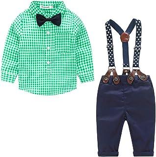 Xifamniy Newborn Boys 2pcs Long Sleeve Sets Plaid Bow Tie Shirt Match Detachable Overalls