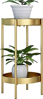ZEETOON Modern Metal Plant Stand Round Corner Floor Holder Shelf and 2 Tray Set Foldable Sturdy Flowers Pot Base for Indoor & Outdoor Potted Orchid Home Decorative Fit 12 Inch Planter Gold