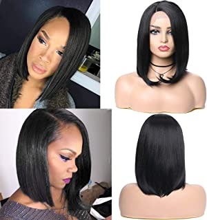 YIROO Synthetic Lace Front Bob Wig, Right Side Part Natural Hairline Medium Shoulder Length Wig for Women High Temperature Heat Resistant Fiber(12 inch, 1#)