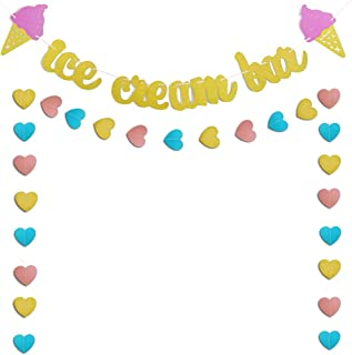 Gold Glittery Ice Cream Bar & Ice Cream Sign Banner and Pink, Blue, Gold Heart Paper Garland Birthday Party Ice Cream Theme Party Summer Theme Party Baby Shower Wedding Decorations Cute Photo Prop