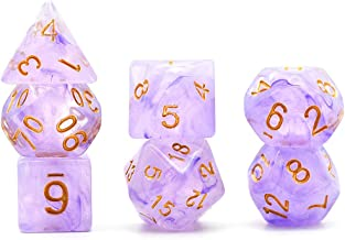 Polyhedral Dice Set Transparent Clouds DND Dice for Dungeons and Dragons with Purple Dice Pouch (Purple)